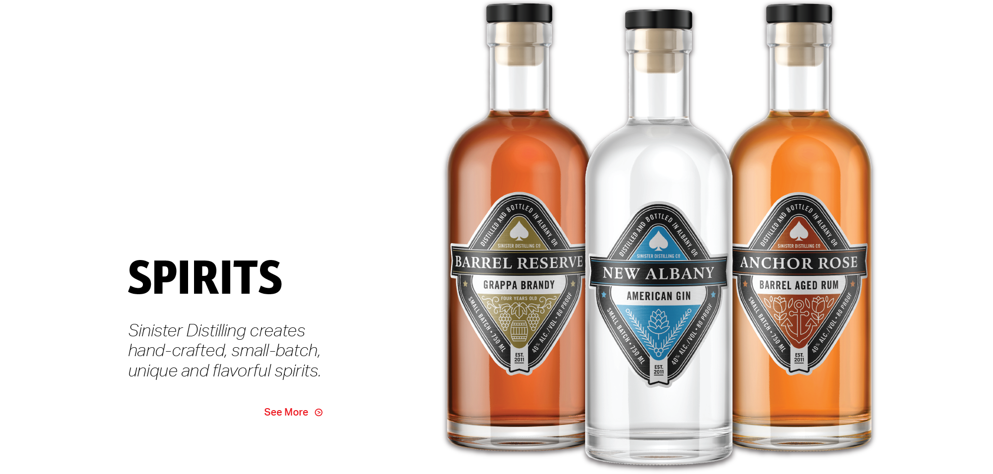 Sinister Distilling creates hand-crafted small-batch uniques and flavorful spirits.